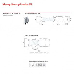 Mosquitera Plisada Lateral 45 | Medidas Fijación