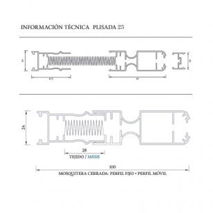 Nueva Mosquitera Plisada Lateral 25 | Datos técnicos