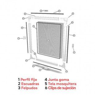 Mosquitera Fija Clipada | Detalle componentes Montaje