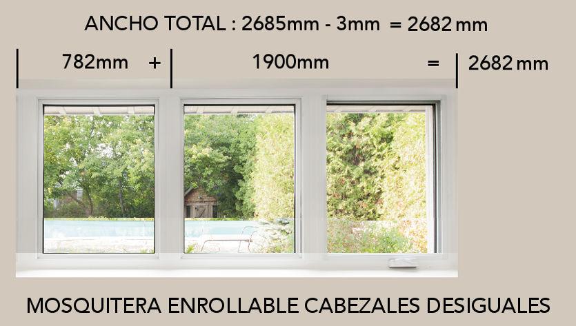 Medir mosquiteras desiguales para ventanas abatibles