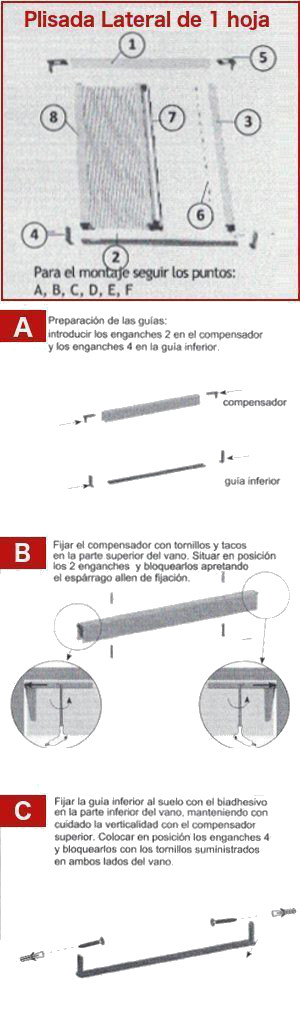 Guía para la instalación de la Mosquitera Plisada Lateral Para Puertas Cabezal de 0,22 - 1